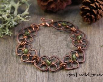 Copper Peridot Heart Bracelet, Handcrafted Copper Bracelet, Wire Wrapped Bracelet, Copper Bracelet, August Birthstone, Copper Wire Jewelry