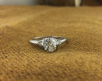 Edwardian Platinum Diamond Engagement Ring