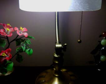 Vintage Bankers/ Desk Lamp with White Frosted Art Glass Shade and Brushed Nickel Finish Hardware