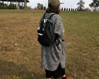 Unisex Cocoon Jacket, Kimono Shape, Dolman Sleeve, Sweater Coat, REVERSIBLE, Midi Length, Shirttail Hem, V-Neck, Plaid, Handmade