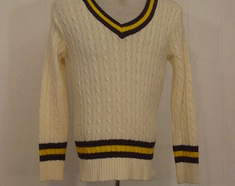 Vintage sweater, 1960s sweater, tennis sweater, V neck, vintage clothing, Large