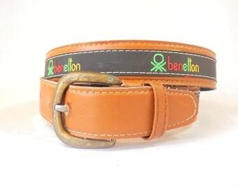 Vintage 80's Benetton, Ladies Small Belt, 80's Belt, Tan Leather Belt, Mens Vintage Belt