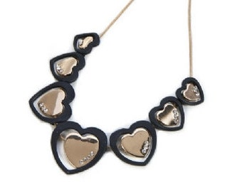 Gold, Black & Diamante Heart Necklace NK4026j