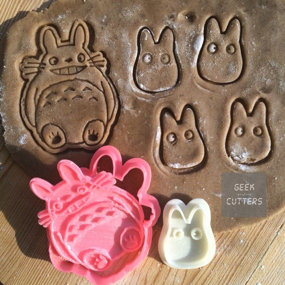 Totoro + Chibi Cookie Cutters Set 3d printed, Baking Mold, Kawaii, party favors, Studio Ghibli Anime Cake Stencil Party supplies Fondant