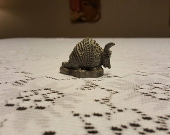 Vintage Pewter Armadillo, Miniature Pewter Animal Collectible, Texas Armadillo Marked R B C
