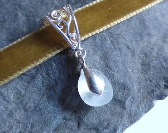 Sea Glass Choker, Brown Velvet, Sand Velvet, Seaglass Jewellery, Sea Glass Jewelry, Sea Glass Pendant, Seaglass Necklace - KD17070