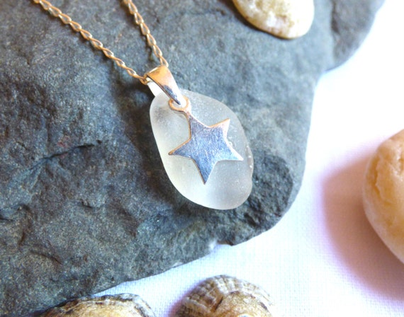 White Seaglass Pendant with Sterling Silver Star Charm - pagan goth emo gothic witch witchy earthy earth sky night mystic mystical - PE16010