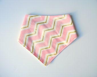Pink, Gold & White Chevron Baby Dribble Bib, bandana bib, baby gift, baby shower gift