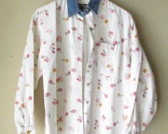 Vintage Denim Shirt, 90's Shirt, Floral Shirt,  Flower Shirt, Flower Power, Denim Shirt, White Denim Shirt, Jean Shirt, Vintage Denim,