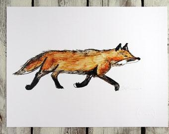 Watercolour print - LITTLE FOX from the Islands - watercolour print