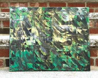 "Impasto Abstract Art - Acrylic Painting in Green, Black, Gold, and Silver on 20"" x 16"" Stretched Canvas - Modern Expressionism Art"