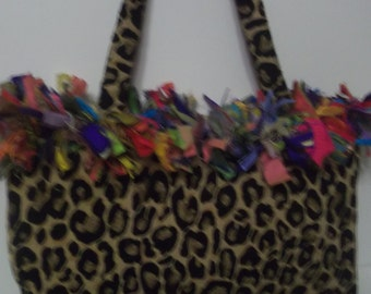 Leopard Purse with Colorful Handmade Silk Dupioni Fringe