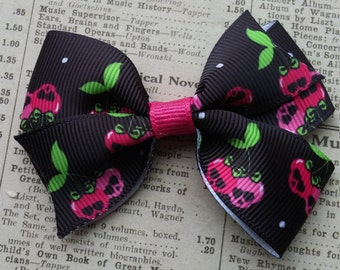 Cherry Skull Hair Bow, hair accessories, party favors, skull favors, cherry favors