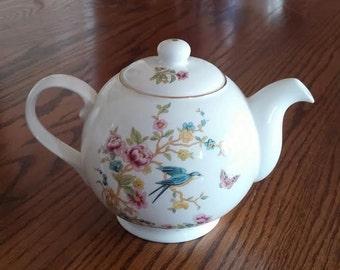 Charming Vintage Bone China Teapot - Duchess Bone China-  Made in  England -  Flowers - Bird - Butterfly