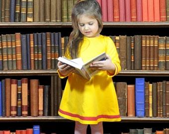 Size 4T Baby Dress • 4T Girl Dress• Yellow Long Sleeved Dress • Long Sleeve  Girl Dress • Yellow Dress• Sweatshirt Dress • Toddler Dress