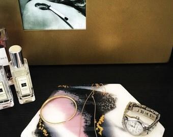 Blush/Black/White - Marble Hexagon HandPainted Jewelry Tray