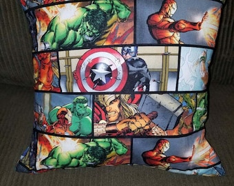 "Marvel Comic Book Covers, Avenger Comic Stip, or Marvel Characters 16"" x 16"" Decorative Throw Pillow (insert included)"