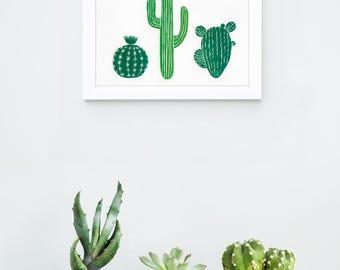 Cactus print art, Linocut decor, Cactus wall art, cactus nursery print, cactus art print, cacti decor, succulents and cacti, cacti print
