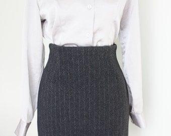 Grey pin-stripe skirt, high waisted skirt,  pencil skirt, wool skirt, wiggle skirt, 1990s fitted skirt, office skirt, pin striped