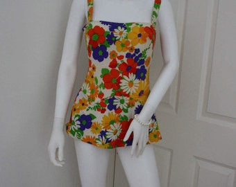 1960's floral swimming costume, vintage swim suit, 60's flowery swim wear, women's swimwear, bathing suit, holiday clothes, flower power