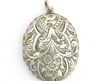Antique Victorian Sterling Silver Engraved Locket Pendant