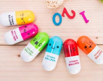 Vitamin Pen, Vitamin Pens, Colorful Capsule Pens, Pocket Pen, Pocket Size Pen, Happy Pill Pen, Pill Pen, Blue Pen 0.5mmTip, Ballpoint Pen