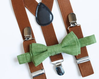 Boys bow tie Green bow tie & Brown suspenders Boys suspenders Toddler bow tie suspendrs Ring bearer outfit Wedding outfit Bowtie