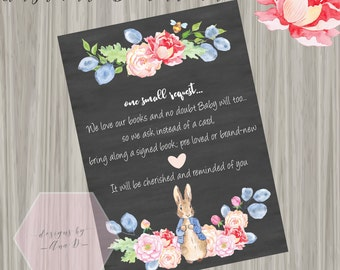 Peter Rabbit Book Request Baby Shower, Peter Rabbit Invite, Bunny Baby Shower, Chalkboard, Floral, Classic Peter Rabbit Book Request