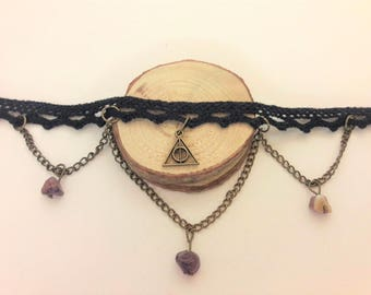 Geometric Choker, amethist triangle necklace, amethyst collar chain Edwardian necklace, black lace Edwardian choker, vintage jewelry