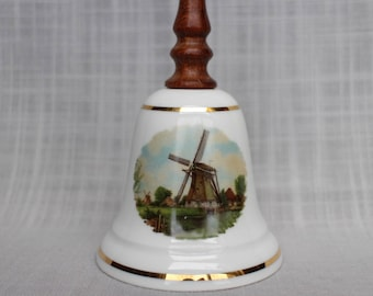 Royal Schwabap Holland Bell, Vintage 1984 Ter Steege The Netherlands Collectible Bell, Mill Design Bell, Wooden Handle Bone China Bell