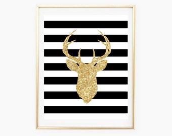 Deer Print, Gold Deer Sign, Home Decor, Wall Art Printable, Gold Print