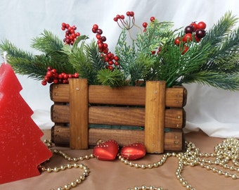 Decorative wooden box with Christmas decorations Christmas gift Holiday ornaments