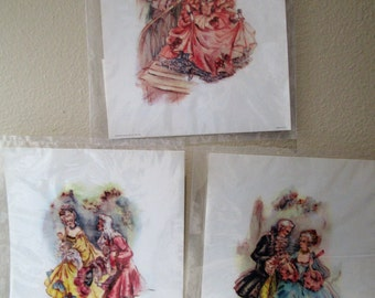 3 Vintage Donald Art Co Prints, New in Sealed Plastic, Victorian Courting Couples, For Framing or Decoupage, Easy Instructions Included, NIP
