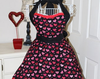 My Hearts Are On Fire - Valentine's Day Apron (Sweet Heart Neckline)