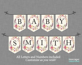 Boho Baby Shower Banner Printable, ALL Letters & Numbers Bohemian Flowers Feathers Floral Rustic Country Customizable Baby Shower Decoration