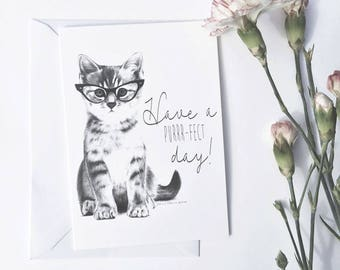 Kitten Birthday Card, Cat, Greeting, Hand drawn, Print, Cute, Funny, Wearing Glasses