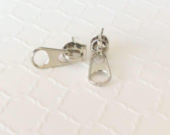 Steampunk Jewelry ~ Zipper Stud Earrings ~ Post Earrings ~ Creepy Cute Jewelry ~ Ear Piecing ~ Creepy Cute ~ Zipper Jewelry