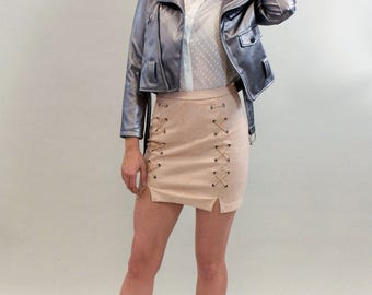 Faux Suede High Waist Baby Pink Skirt