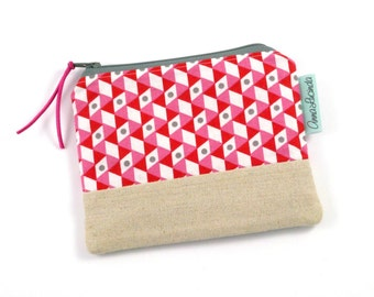 Small Red Geometric Money Purse, Small Coin Purse, Small Coin Pouch, Change Purse, Card Holder Woman, Geometric Zipper Pouch