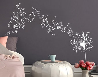 Dandelion Wall Decal Flower Music Musical Notes Nature Plants Home Interior  Design Vinyl Sticker Bedroom Living Part 7