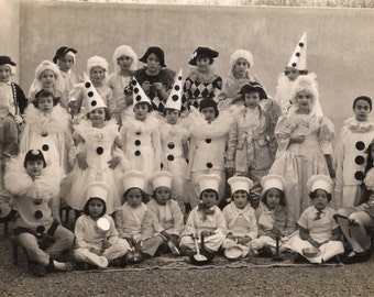 1920s Original Vintage French RARE Real Photo Postcard RPPC Fancy Carnival Outdoor Children Group Portrait in Pierrot and Cook Costumes