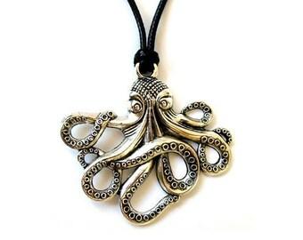 Octopus Necklace, Steampunk Necklace, Octopus Jewelry, Steampunk Jewelry, Charm Necklace, Octopus Pendant, Silver Octopus, Necklace