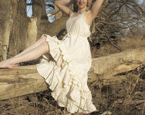 Tallgrass Gown - Cream 100% Cotton Muslin Dress - Adult / Women's Custom-Made -Bohemian Wedding Gown - Moth & Rust Handmade in Kansas USA