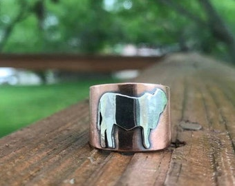 Copper and Sterling Brahman Ring