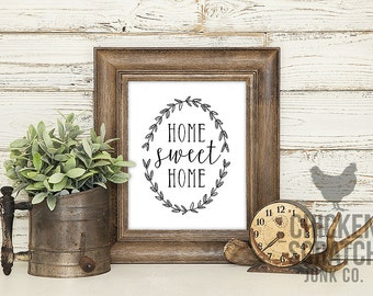 Home Sweet Home | print | typography | wall art | black white | home print | home decor | home sign | farmhouse style