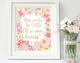 Pink Baby Girl Quote - Pink And Gold Floral Nursery Print - Shabby Chic Baby Girl Decor - Little Girls Decor Ideas - Gift For Little Girl