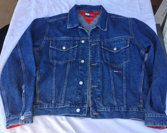 90s Tommy Hilfiger Mens Size L Medium Blue Wash Denim Jean Jacket