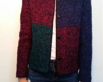 80s Kasper Color Block jacket. Knitted jacket. Purple, pink, green. Classic Blazer. Excellent Condition. Size 4. Size Small.