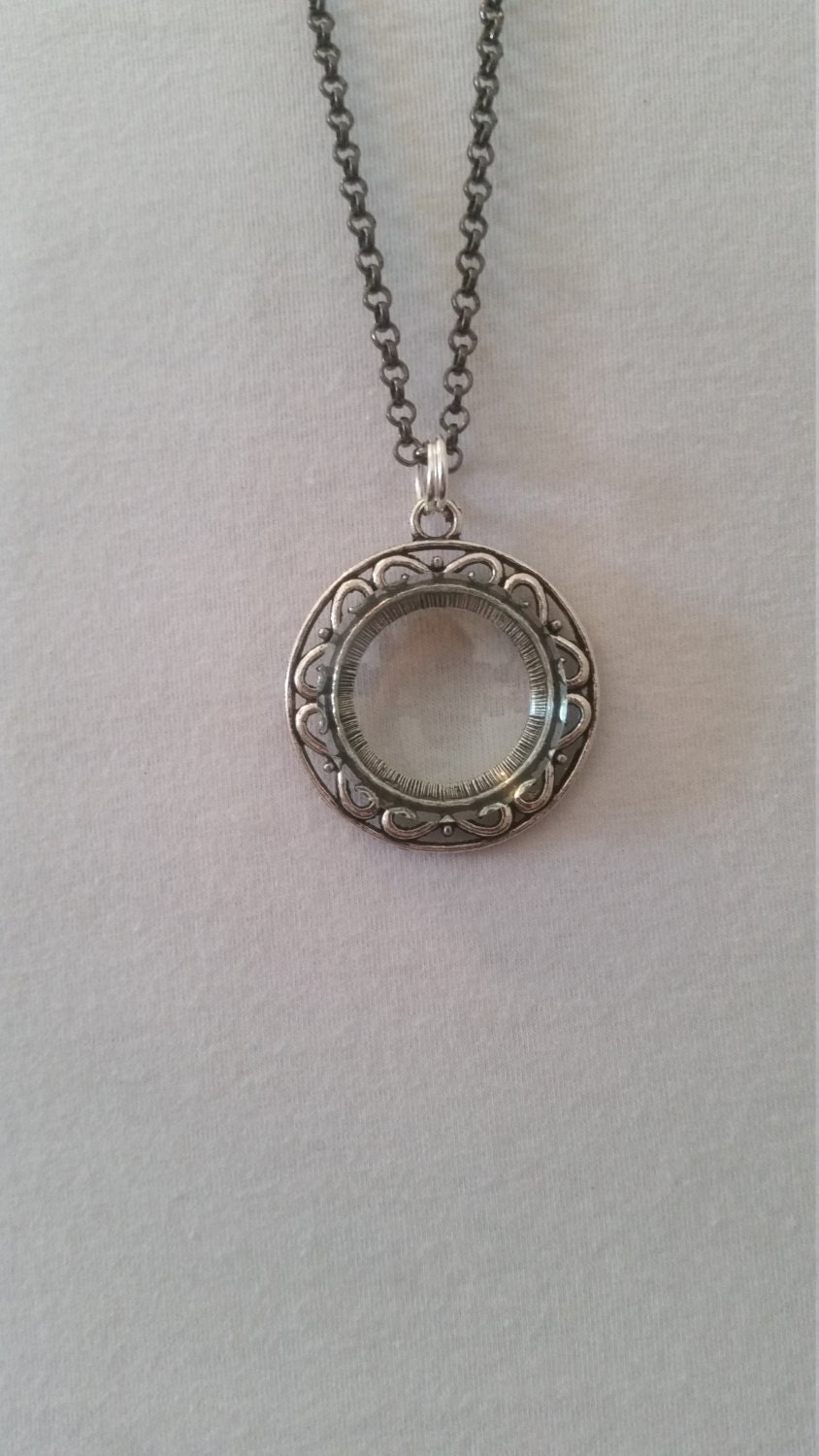 magnifying glass necklace pendant silver black chain