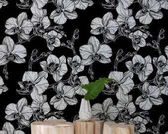 Hand-drawn orchid flowers wallpaper || Black and white, elegant wall mural || Wall sticker || Removable, Reusable #95